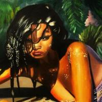 an oil painting portrait of the Victoria secret model Adriana Lima,and in the background are trees, and bushes