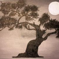 acrylic bonsai silhouette under a full moon