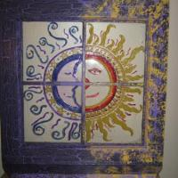 Re sanded old window. Painted frame using dark and light shade of purple with a crackle effect also added yellow on one side using sponge effect for texture. I used glass paint to do the sun and moon on the glass