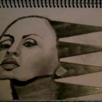 This is a drawing of Diana Ross. I wanted to add my own creativity to this drawing so I turned her hair into spikes, to make it look unique and raw.