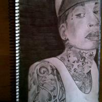 Portrait of Wiz Khalifa. My love for drawing tattoos began here.