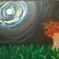 part one in the moolit dreamer series. Either a tree in fall or a somber firey redhead having a silent conversation with the moon.