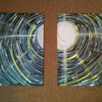 second painting in the moonlit dreamer series, a close look at our main character. Two panels 16x20 each.