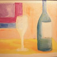 a table by a window, with a wine bottle and a wine glass on it...done pastelly in acrylic on canvas