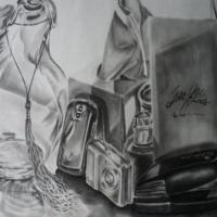 A pencil still life drawing that consist of 10 random items, placed together in a excellent composition