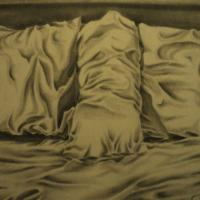 A pencil Drawing of my bed, it consist of three pillows placed together to create adequate composition