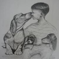 Pencil drawing of a young boy and his friends.
