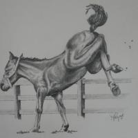 Pencil drawing of local foal in a pasture