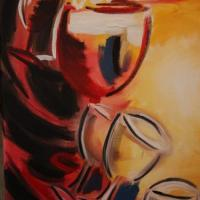abstract wine glasses in oil