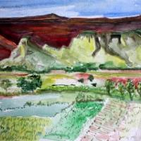 this is a water color looking down onto the Jemez Indian reservation.It is near where I live.They plant their fields with corn and chili during the summer.the mesa behind is a massive structure of red rock.Depending on the light it varies in intensity,