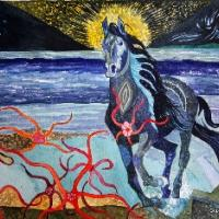 This is one of 6 similar horse paintings that I did last year-2011. When I paint like this images come to me like metaphors.There is always a story behind the symbolism.This kind of painting is easy for others to create their own story from.