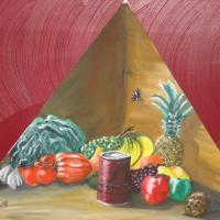 still life/1st in series of triangular paintings