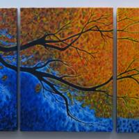 A three piece work on canvas each panel is 18