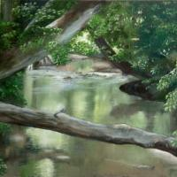Oil on canvas - painting is unframed and priced as such. Framing is available for an additional amount. This painting has a lot of greens of varying shades and I think it would look very nice in a gold colored frame in a study or a library room. The paint