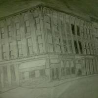 a building sketch i did for art class