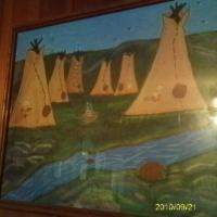 Acrylic painting of a Teepee Village