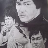 Leeway Art Rendition of the Great Bruce Lee Original Drawing framed and matted