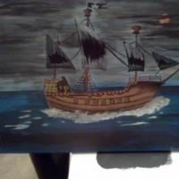 Just decided to do a pirate ship made look like a stormy night.