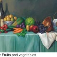 This is a still life painting depicts various fruits and vegetables E.t.c. The style use in this painting is known as FUMATO. It is style where the joint, light and shade blends together