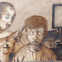 Afro American child getting his hair cut at the barber shop reluctantly- this image was wood burned onto MDF see www.gemsdesignsandcreations.com