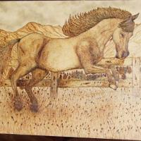 Wood burned image of an Arabian horse frolicking in it's paddock - framed