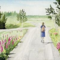 Watercolor of woman walking at Pilgrim Hot Springs, near Nome, Alaska.  Sunny day with fireweed flowers.  High quality thermal prints available. Price is for unframed print.  Contact Stephen at troutguy5@gmail.com or through form here.
