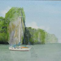 Watercolor of a sailboat near Phuket, Thailand.  From a photo courtesy of Larry Jacobson.  High quality thermal prints available. Price is for unframed print.  Contact Stephen at troutguy5@gmail.com or through form here.