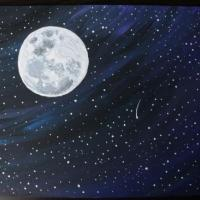 Moon and stars painted on canvas board