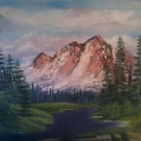 oil on canvas a mountain range that melting snow flows down to a purple pond