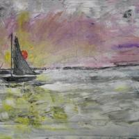 oil on canvas of a sail boat and sunset, knifed