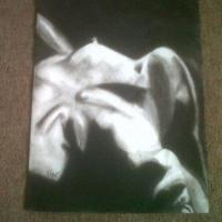 B&W charcoal drawing.