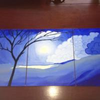 3 pannel painting, each panel is 14 x 11, so all together they are 14 x 33  Prices are negotiable