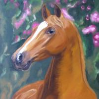 Wonderful oilpainting on canvas from a horse portrait. wonderful! The expression and the suave violet colors in the background compose an extraordinary gentile composition! Many peoble told me that my animals really live and move when you look at them.