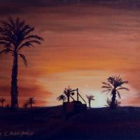 Wonderful oilpainting on canvas from an oasis while sunset. You see simple clear lines but also I kind of richness in this painting! The size of the painting is without frame 30 x 40 x 2 cm and with frame 33 x 43 x 3 cm, and was finished on 30.08.2003