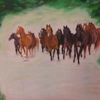 Oilpainting on canvas from a herd of horses in canter. Don't stay in front of the painting otherwise the horses will catch you. Since I can think horses inspires me, I love them really. As a child when I began to draw, I began with horses.