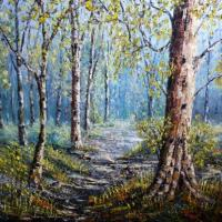 I painted this early spring in a local wood. I use box canvas and paint the outer edges so there is no need for a frame.