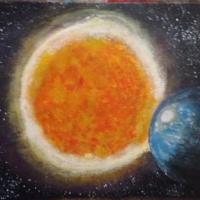 Abstract depiction of a planet in its solar backdrop.