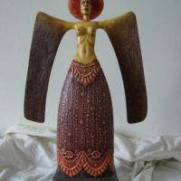 wooden sculpture, one of kind, textiled, painted