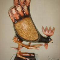 wooden sculpture, textiled, painted, one of kind