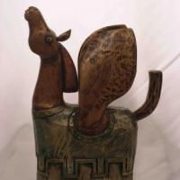 wooden sculpture, painted, patined, one of kind
