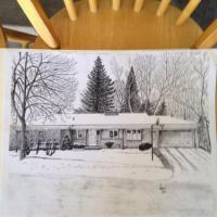 House my wife grew up in drawn in black ink.