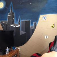 Skate ramp in the city. Paint on my sons bedroom wall.
