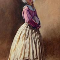 oil on canvas of a Southern Belle