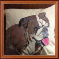 Hand painted bulldog on a cushion with fabric paint