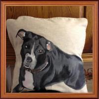 Hand painted staff of a customers dog on a cushion in fabric paint