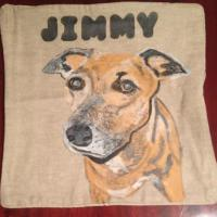 Hand painted pet dog of a customers on a cushion in fabric paint