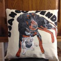 Hand painted pet cushion in fabric paint
