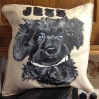 Hand painted cushion of a customers pet in fabric paint