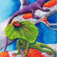 The imspiration came from a black outline drawing of two lizards I found somewhere and my mind went wild with colour.