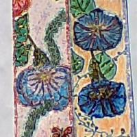 these are bookmarks, made by drawing flowers, then using ink, crayon, and glitter for visual effect to create more of an abstraction